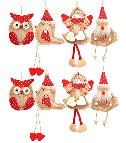 Welldone Christmas Ornaments Hanging Tree Decorations - 8pcs Burlap Owl Bird Santa Claus Angel -
