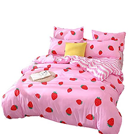 Kimko Kids Strawberry Bedding Set- Girls Reversible Red Strawberry Pattern & Pink Cover -4Pcs -1 Duvet Cover Set + 1 Bed Sheet + 2 Pillowcases (Queen, # Strawberry)