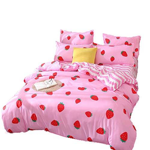 Kimko Kids Strawberry Bedding Set- Girls Reversible Red Strawberry Pattern & Pink Cover -4Pcs -1 Duvet Cover Set + 1 Bed Sheet + 2 Pillowcases (Twin, # Strawberry) (Pattern Shortcake Strawberry)
