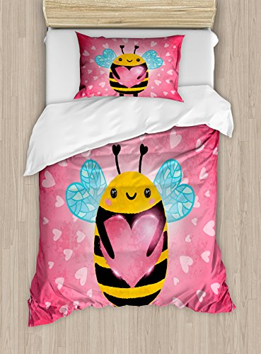 Ambesonne Queen Bee Duvet Cover Set Twin Size, Love Valentine's Day Bumblebee Holding a Giant Heart Cartoon Style, Decorative 2 Piece Bedding Set with 1 Pillow Sham, Coral Pale Blue Yellow