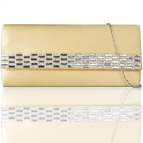 Xardi New satin diamante donne pochette da sera party borsetta da donna da sposa designer Gold