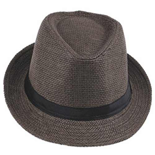 Tuplidsee Women's Sun Hats Cap Summer Beach Sun Straw Panama Hat With Ribbow Band Coffee for $<!--$13.95-->