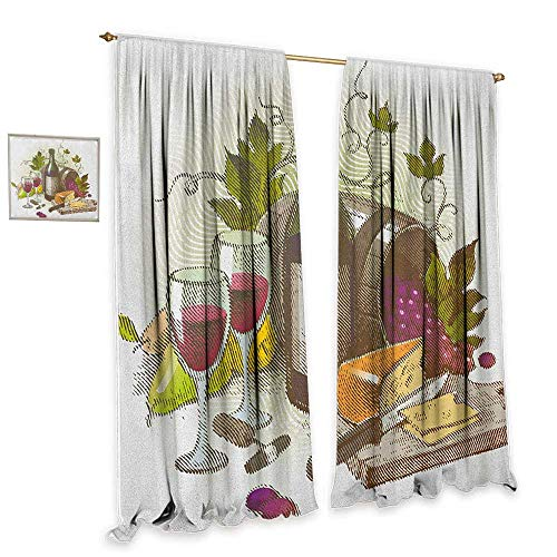 "Wine Thermal Insulated Drapes for Kitchen/Bedroom Vintage Style Composition with Wine and Cheese Fruits Gourmet Taste Beverage and Food Home Garden Bedroom Outdoor Indoor Wall Decorations 55""Wx45""L from cobeDecor"