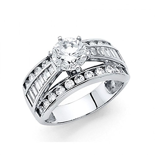 14k White Gold CZ Channel Set Baguette Engagement Ring