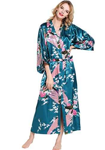 ArtiDeco Vestido Kimono Pijama de Seda Novia Kimono de Seda Ropa de dormir de Satén Estampado Pavo Real Esmeralda