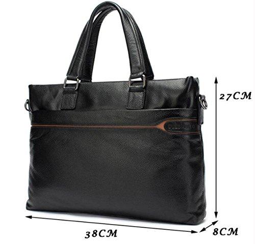Maletín Hombres Bolso Corte Cruz Zipper Messenger Bag Bolsa De Cuero Masculino Black