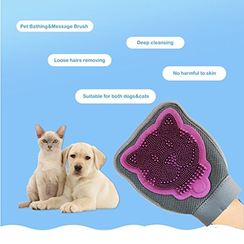 Pet Grooming Gloves Massage Mitt Hair Removers Fur Collecting Shedding Tools for Dog & Cat,Multipurpose Silicon Pet…