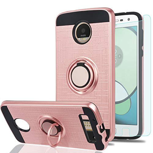 - Moto Z Play/Moto Z Play Droid Case with HD Phone Screen Protector,Ymhxcy 360 Degree Rotating Ring & Bracket Dual Layer Resistant Back Cover for Motorola Moto Z Play Droid(2016)-ZH Rose Gold