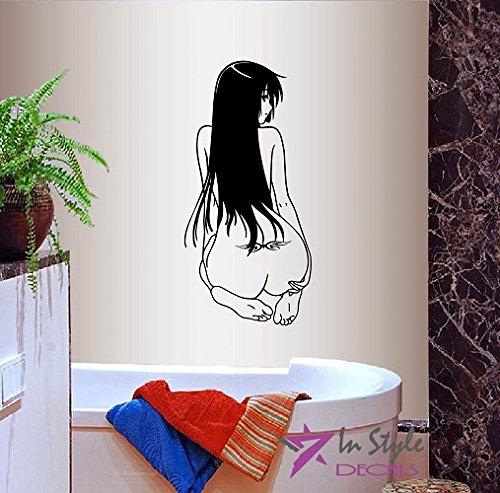 Wall Vinyl Decal Home Decor Art Sticker Anime Manga Sexy Nude Girl Sitting Back Bathroom Beauty Spa Salon Room Removable Stylish Mural Unique Design