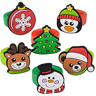 Neliblu Bulk Holiday Christmas Themed Rubber Rings Fun Christmas Party Favor Stocking Stuffer 36 Rings Per Unit 6 Assorted Styles: Toys & Games