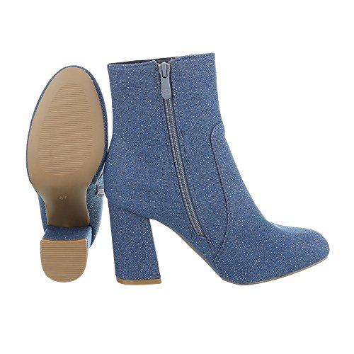 Schuhcity24 Damen Schuhe Stiefeletten High Heels Blau