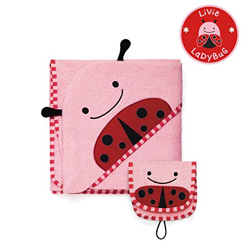 Skip Hop Zoo Baby Infant and Toddler Soft Cotton Hooded Bath Towel and Mitt Washcloth Set, Two Pieces, Multi, Livie Ladybug