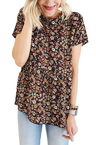 BTFBM Women Crew Neck Floral Short Sleeve Ruffle Asymmetric Hem Shirt Tunic Top Blouse (Black, Small)