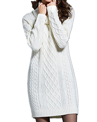 leneck Cable Knit Long Sleeve Tunic Pullover Sweater Dress Top (White, M) ()