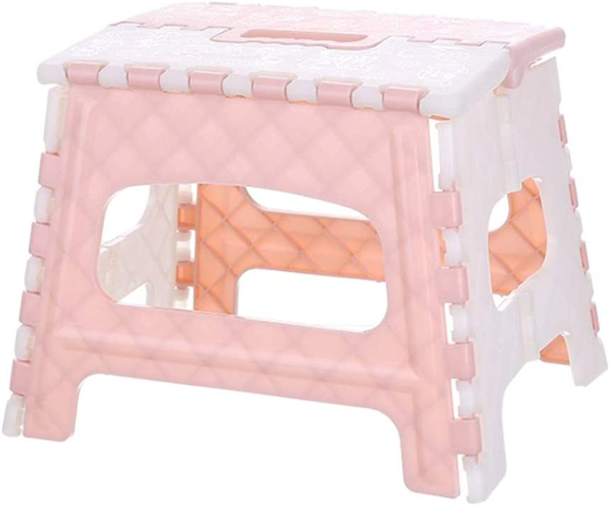 Fan-Ling Plastic Multi Purpose Folding Step Stool,Bathroom Children Small Bench,Portable Adult Outdoor Fishing Stool,Home Train Outdoor Storage Foldable (Pink)