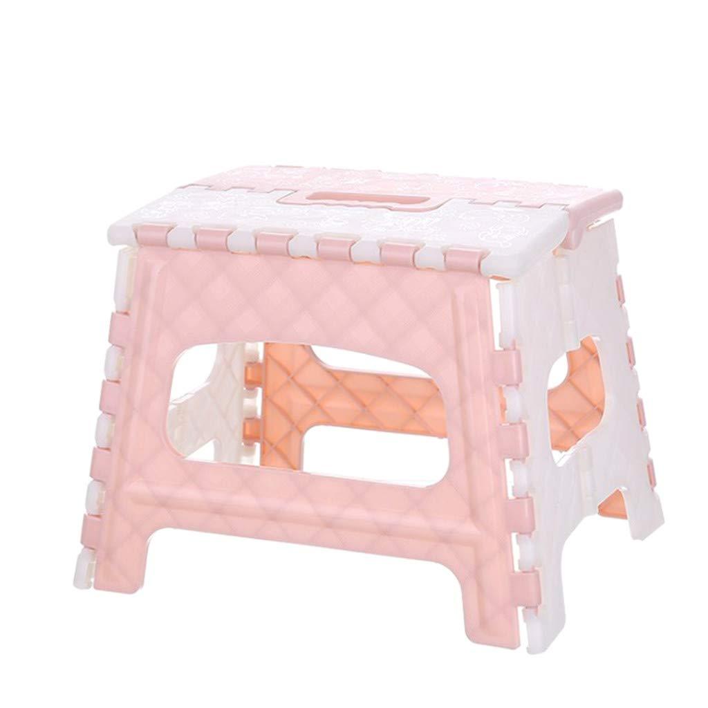 Folding Stool - Multi Purpose Folding Step Stool Home Bathroom Fishing Train Outdoor Portable Plastic Foldable Stool Pink