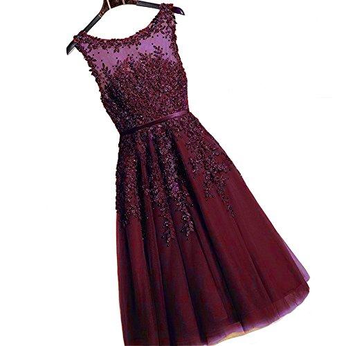 Kivary Short Tea Length Sheer Bateau Lace Appliques Prom Party Homecoming Dresses Burgundy US 2