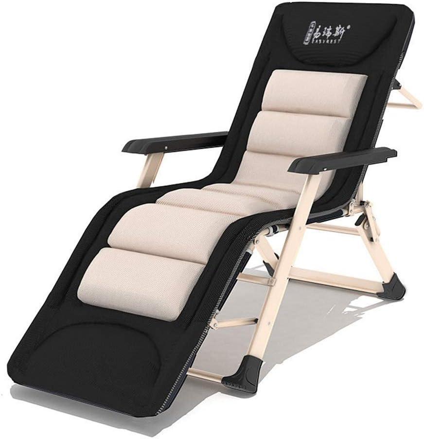 LIX-XYD Sillón reclinable Jardín Silla reclinable Plegable Silla de Oficina Salón Balcón balancín Descanso for Comer al Aire Libre Beach Chair + reposacabezas, 380lbs de Apoyo