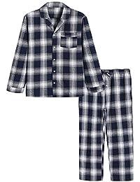 Men's Cotton Pajama Set Plaid Woven Sleepwear