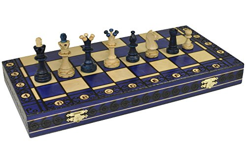 "BLUE CONSUL HANDCRAFTED TOURNAMENT WOODEN CHESS Board 19 x 19""- Chessmen Weighted"