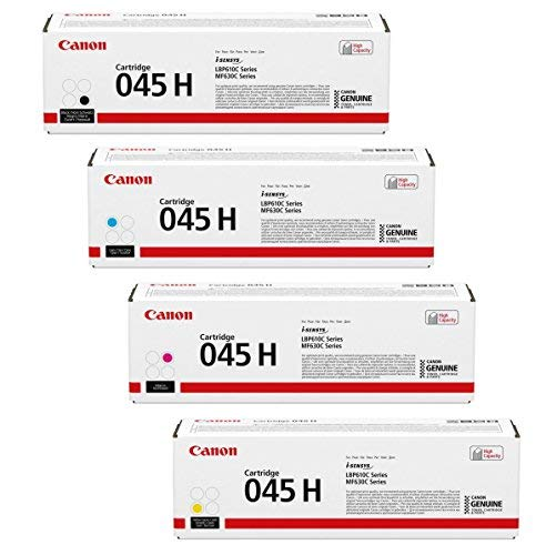 (Canon 045 High Capacity Cartridge Set - Black, Cyan, Magenta and Yellow 045H - for LBP610 Series and Color imageCLASS MF630C Series Canon Printers Genuine Original)