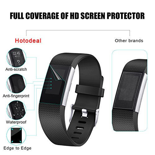 [6 PACK] Fitbit Charge 2 Screen Protector, Hotodeal Full Coverage Invisible Clear Shield, Anti Bubble, Anti Scratch, HD Film Guard for Fitbit Charge 2