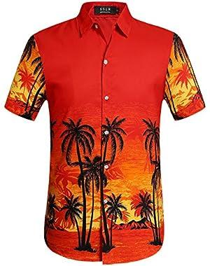 Men's Print Tropical Aloha Short Sleeve Hawaiian Shirt