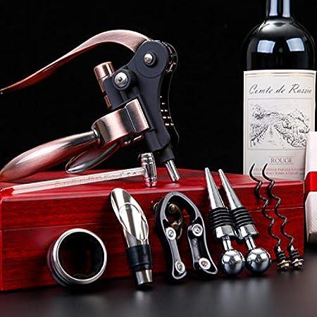 Juego de Abridor de Vino, PTN Sacacorchos, Juegos de Accesorios para Vino con Abridor Botella, Tapón y Vertedor, Recogegota para Botella,Termómetro, Con Exquisita Caja de Regalo, 9 Piezas