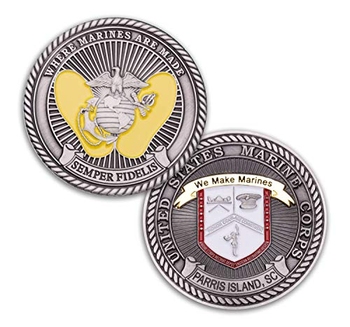 - Parris Island Challenge Coin - Marine Corps Recruit Depot Military Coin - MCRD Challenge Coin Designed By Marines For Marines! Officially Licensed