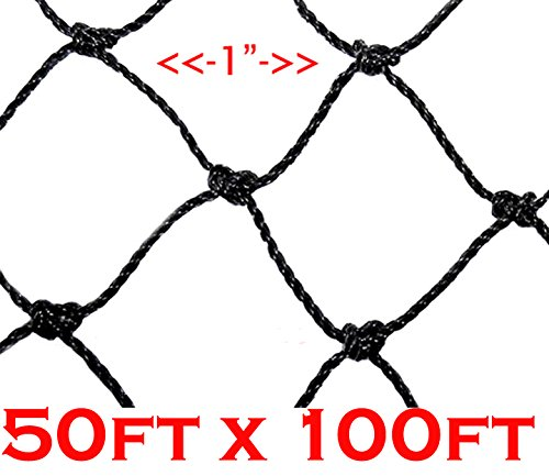 2 Size, 1'' Square Mesh Hole, Net Netting for Bird Poultry Aviary Game Pens (50' x 100') by Mcage