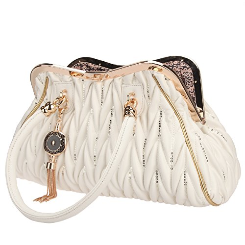 Pu For Chain Butterfly Tassel Bag Bonjanvye Straps Large With White Women Tote Handbags UB6qn4wF