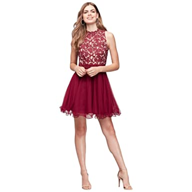 Embroidered Lace Mock-Neck Homecoming Prom Dress Style 8145AB3B - Red -