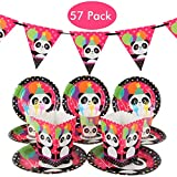 DreamJ Panda Party Supplies Set, 57Pcs Panda Disposable Tableware Set with Panda Plates Cups Forks Popcorn Boxes Panda Banner for Boys,Girls,Baby Showers Birthday Party Favors Decorations
