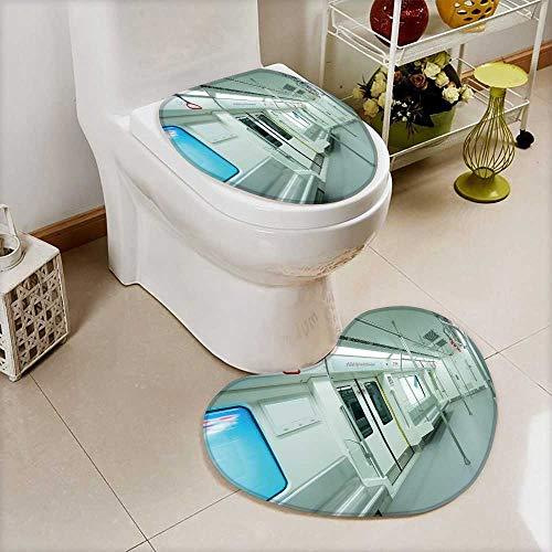 Printsonne 2 Piece Toilet mat set interior view of a subway car 2 Piece Heart shaped foot pad ()