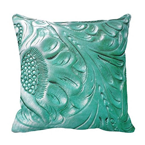 Decorpillows Tooled Western Turquoise Leather Look Throw