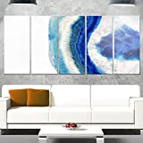 Designart MT14371-401 Macro of Blue Agate Stone - Abstract Canvas Metal Wall Art,Blue,60x28