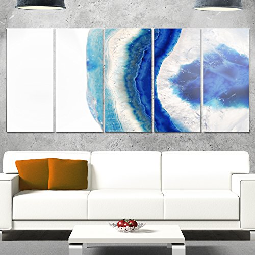Designart MT14371-401 Macro of Blue Agate Stone - Abstract Canvas Metal Wall Art,Blue,60x28 by Design Art
