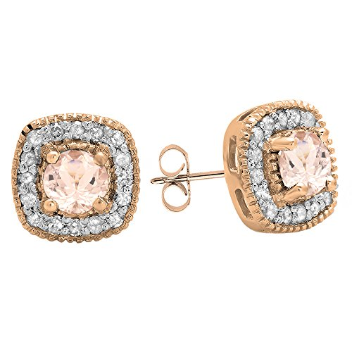 Rose Gold Plated Sterling Silver Round Cut Morganite & White Diamond Ladies Halo Stud Earrings by DazzlingRock Collection