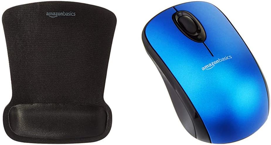 AmazonBasics Wireless Mouse with Nano Receiver and Gel Mouse Pad with Wrist Rest , Blue