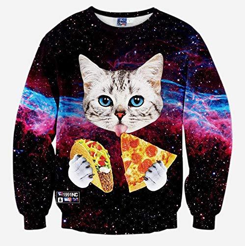 zlhcich Otoño e Invierno 3D Belleza Smiley Starry Sky Pizza Kitten ...