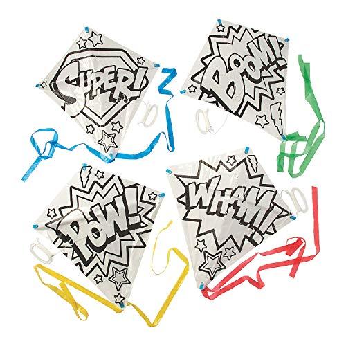 Fun Express Color Your Own Superhero Kites (Makes 12) Craft Kits for Kids