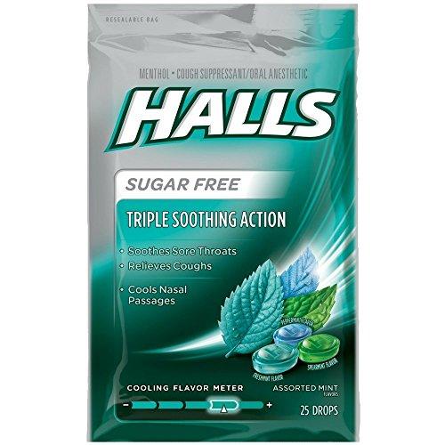 Halls Mentho-Lyptus Drops Sugar Free Assorted Mint 25 Each (Pack of 6) ()