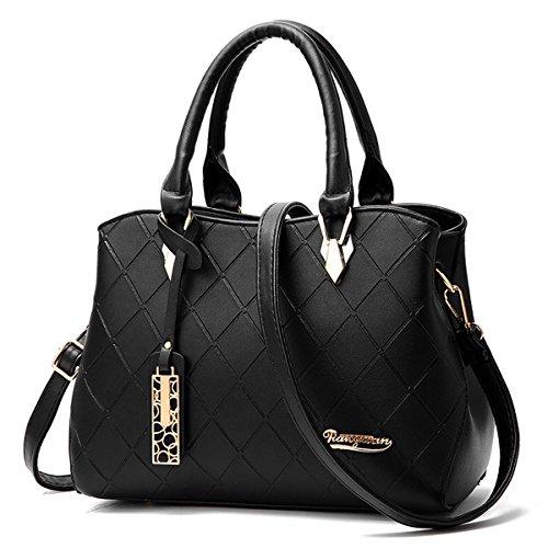 RUIREN Shopping Soft Bag Bolsa de Hombro Portátil Mujer Messenger Bags Mujer Bolso de Hombro negro