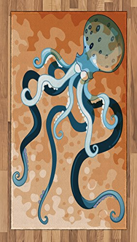 Ambesonne Octopus Area Rug, Giant Cephalopod Legs Exotic Oceanic Animals Beast Wild Life Image Print, Flat Woven Accent Rug for Living Room Bedroom Dining Room, 2.6' x 5', Blue Orange