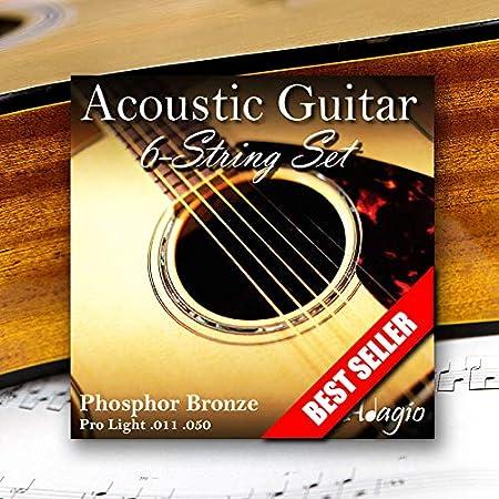 Adagio Musical Instruments Juego completo / paquete de cuerdas de guitarra acústica ligera - Calibre 11-50 Bronce fosforado