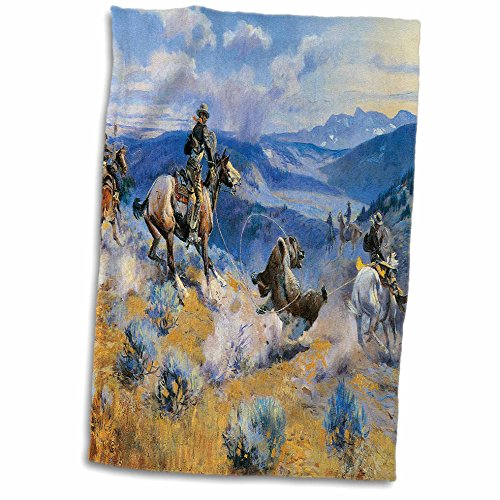 3dRose Loops and Swift Horses are Surer Than Lead by Charles Marion Russell Towel, 15