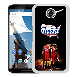 Personalized L.A. Clippers 4 White Special Custom Made Google Nexus 6 Cover Case
