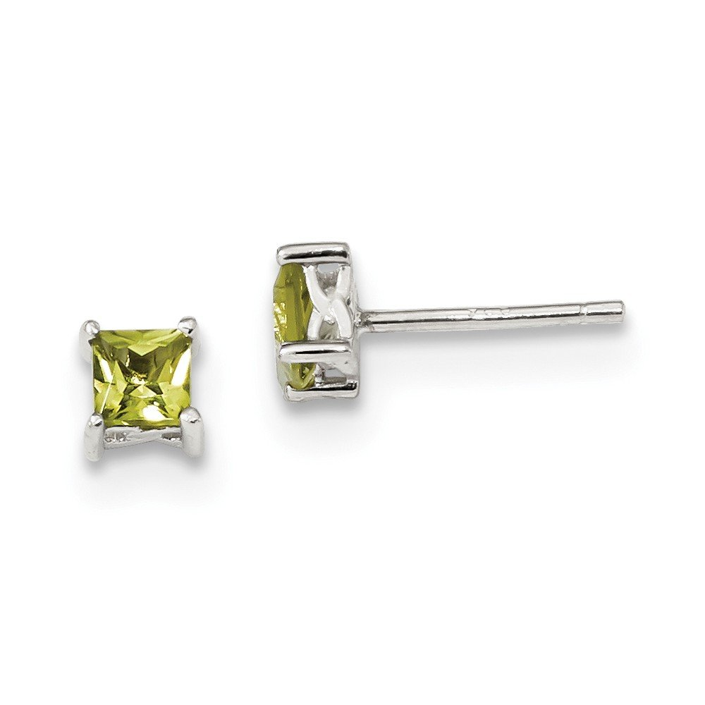 Sterling Silver 4mm Princess Peridot Post Earrings by JewelryWeb