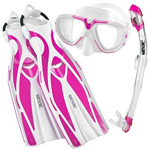 Snorkel Mask Fins Boots (SEAC Pro Dive Mask Fin Snorkel Set, Pink, Medium/Large)