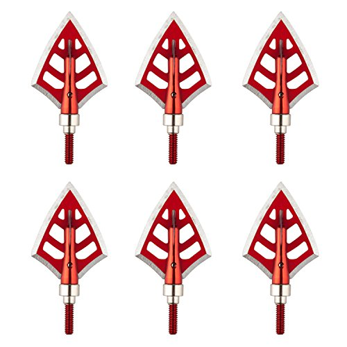 Metal Hunting Crossbow - AUNKZL 6 pack 125 Grain 3 Fixed blade Hunting Broadheads Archery Arrow Hunting Points Metal Tips for Compound Bow and Crossbow